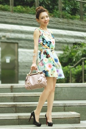 light pink H&M necklace - light blue dress - light pink Miu Miu bag