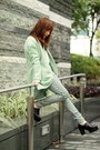 Black-choies-shoes-aquamarine-choies-coat-white-cable-knit-h-m-sweater