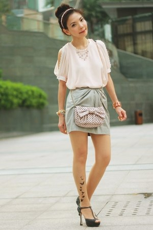 silver metallic H&amp;M skirt - light pink RED valentino bag