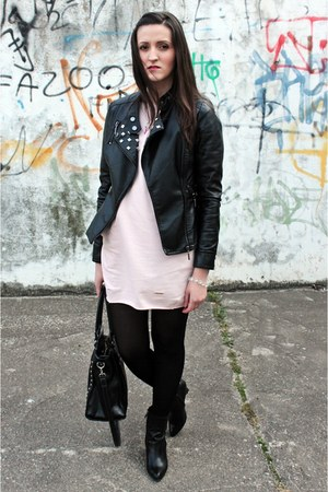 light pink xmoda dress - black Mohito jacket
