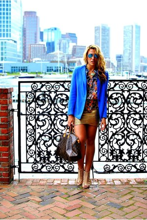 blue BCBG jacket - mustard BCBG skirt