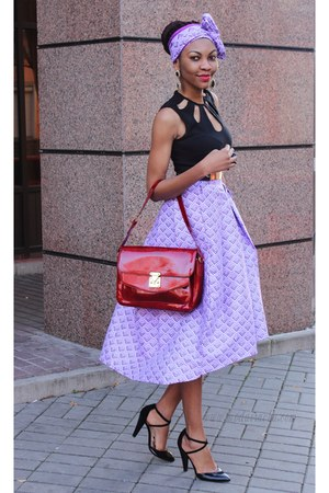 light purple skirt - brick red bag - black asos heels - black cut out asos top