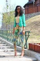 printed kira plastinina pants - green Calliope blazer - metallic H&M top