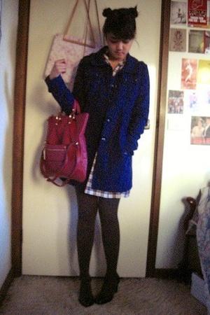 H&M coat - Thrifted checked dress - Jonathan Aston grey ribbed tights - RMK pate