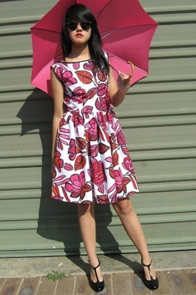 pink amourette by amie mai diane dress - black rmk lolita patent t-bar shoes