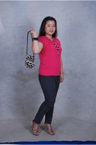 zebra print Saks Fifth purse - skinny giordano jeans - strappy heels - necklace