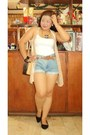 Black-shoes-neutral-bag-blue-shorts-white-top-nude-vest-necklace
