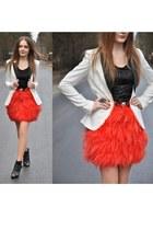 carrot orange Zara skirt - black Stradivarius shoes - white H&M Trend jacket