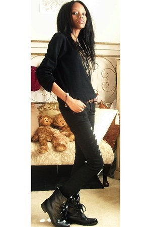 black combat boots boots - black jeans - black fox design sweater - brown belt