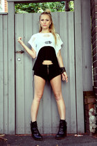 black suede shorts One Teaspoon shorts - black black tank evil twin top