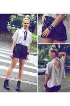 black leather shorts wish shorts - black wedges Sportsgirl wedges
