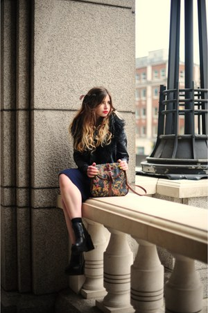 black H&M boots - blue Primark dress - black H&M jacket