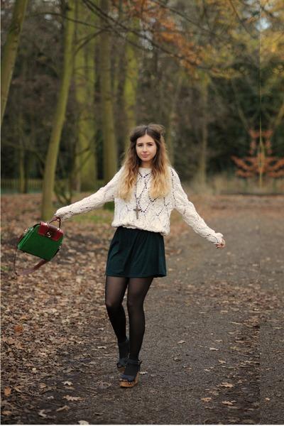 ivory topsgop jumper - forest green Topshop dress - dark green chicnova bag