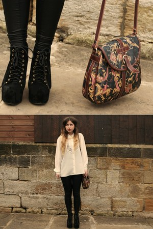 vintage bag - Jeffrey Campbell boots - Topshop leggings - vintage blouse