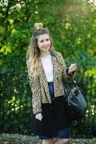 tan Oasis coat - ivory Oasis top - navy Oasis skirt