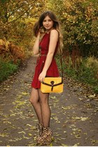beige asos boots - ruby red Ebay dress - yellow Primark bag