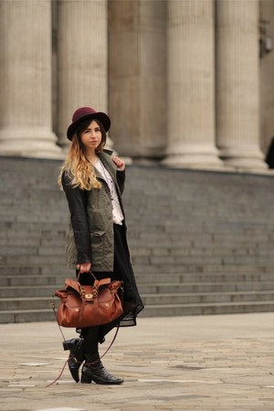 Topshop jumper - H&amp;M hat - vintage jacket - Forever 21 skirt