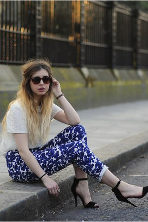 white Oasis top - blue zalando pants - black Ebay heels