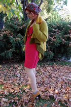green handmade knit sweater - brown heels suede Michael Kors shoes