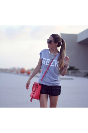 geek Choies t-shirt - coral color coach bag - black Choies shorts