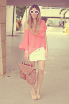 pastel Cooee bracelet - white romwe sunglasses - nude Topshop heels