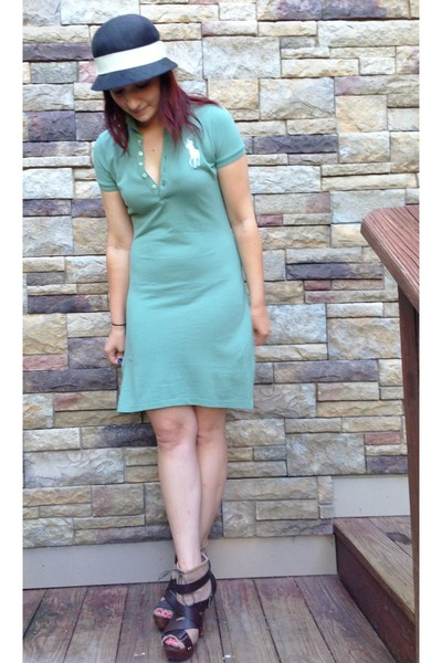 black Ralph Lauren hat - green Ralph Lauren dress