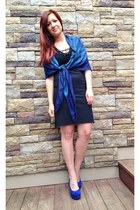 navy Burberry scarf - black Ralph Lauren dress - blue Betsey Johnson wedges