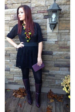 black Target skirt - deep purple Cole Haan boots - black Target top