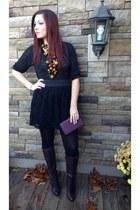 black Target skirt - deep purple Cole Haan boots - black Target top