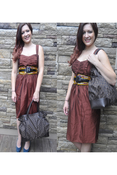tawny Burberry belt - crimson Burberry dress - dark brown Gucci bag