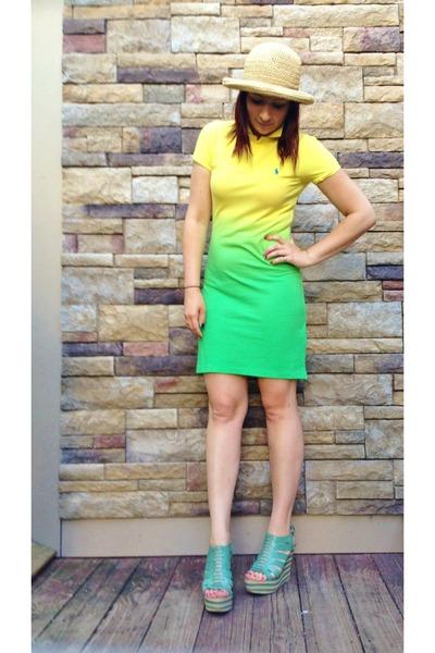 yellow ombre Ralph Lauren dress - cream unkown hat - light blue Anna Luz wedges