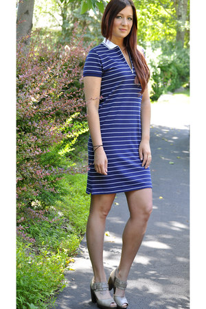 blue Ralph Lauren dress - dark khaki born sandals