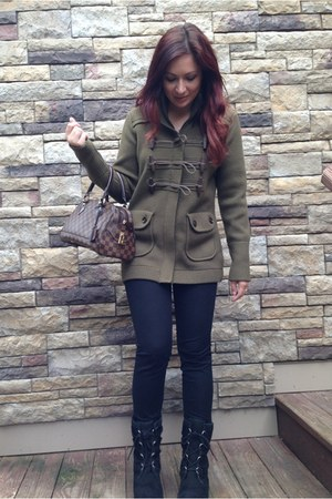 dark green Burberry jacket - black Ugg boots - dark brown Louis Vuitton bag