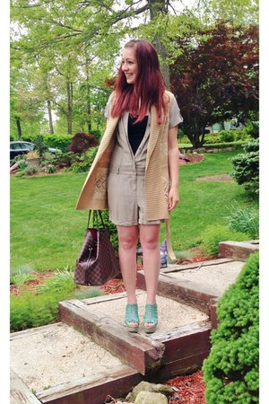 dark khaki INC romper - camel Ralph Lauren vest - aquamarine Anna Luz sandals