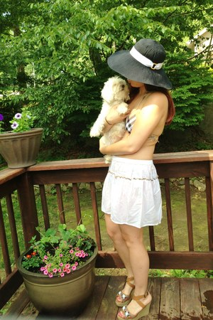 white Burberry skirt - black Ralph Lauren hat - camel Burberry swimwear