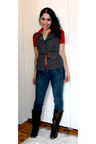 Aldo boots - Parasuco jeans jeans - united colors of benetton vest