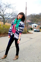 Forever21 shoes - vintage sweater - Paige leggings - vintage cardigan
