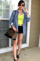 vintage bag - Twenty8Twelve shirt - Levis shorts - Elizabeth and James wedges