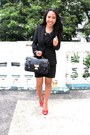 Bodycon-forever21-dress-blazer-lace-bag-open-toe-pumps