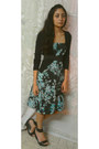 Sky-blue-floral-print-dress-black-sandals-black-cardigan-black-belt
