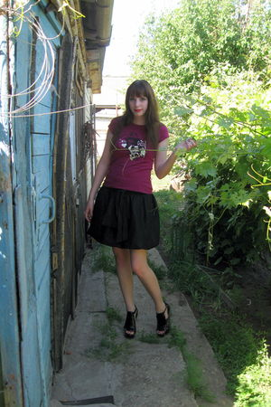 black PaoloConte boots - black Hand Made skirt - purple Mango t-shirt