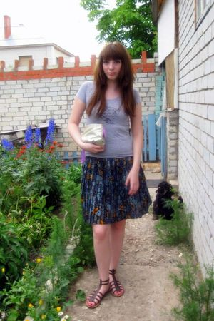 blue handmade skirt - silver t-shirt - silver Cacharel accessories - brown shoes