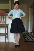 sky blue BDG top - black thrifted skirt