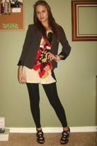 beige Forever 21 dress - white shoes - gray blazer - black Walmart leggings - wh