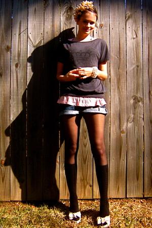 black Charlotte Russe shirt - pink Target top - blue Buffalo Exchange shorts - w