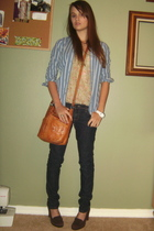 blue abercrombie and fitch shirt - brown sam edelman shoes - Forever 21 jeans -