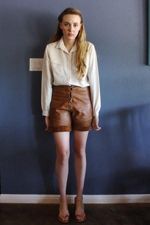 vintage shorts - lanvin blouse - clear pvc strap Michael Kors heels