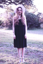 black vintage dress - white straw vintage hat - black calvin klein heels