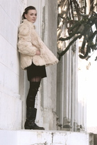 beige Urbanxchange jacket - black Goodwill dress - black DIY shredded thigh high