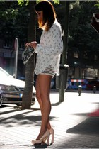 cream Zara shoes - ivory Zara shirt - silver Zara bag - cream Zara shorts
